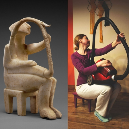 Male Harp Player of the Early Spedos Type, 2700–2300 B.C., Cycladic. Marble, 14 ⅛ x 11 1/16 in. The J. Paul Getty Museum, 85.AA.103. Recreation via Facebook DM by Irena Ochódzka with canister vacuum
