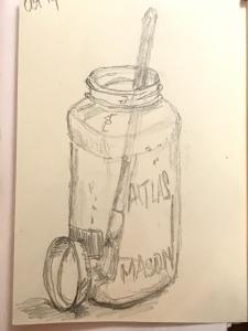 dye jar with mixing brush